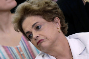 Brazil's President Dilma Rousseff reacts during a meeting with educators at the Planalto Palace in Brasilia, Brazil April 12, 2016. REUTERS/Ueslei Marcelino