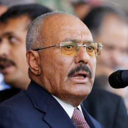 Ex-presidente Ali Abdullah Saleh faz discurso em Sanaa  24/8/2017   REUTERS/Khaled Abdullah